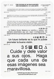 Jaeger Reading Test Chart Standard Jaeger Reading Test Card Spanish