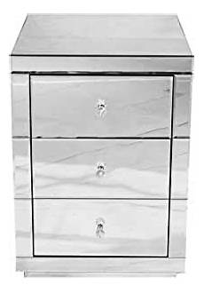 panana mirrored bedside cabinet chest of 3 drawers bedside