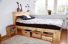 How To Make A Pallet Bed Frame With Lights Pallet Wood King Size Bed With Drawers Amp Storage 1001
