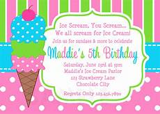 Birthday Invitations Girls Printable Birthday Invitations Girls Ice Cream Party
