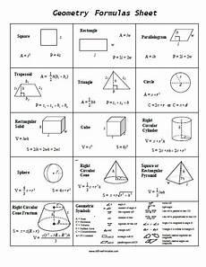 Geometric Formula Geometry Formulas Sheet Free Printable