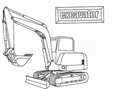 e is for excavator coloring pages print