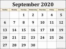 Calendar 2020 September Printable September 2020 Calendar Free Printable Monthly Calendars