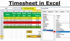 Excel Time Clock Calculator Timesheet In Excel 18 Easy Steps To Create Timesheet