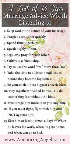 Checklist For A Wedding Marriage Advice Worth Listening To A List Of 13 Tips
