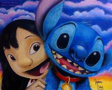 lilo and stitch done in colored pencil and acrylic paint