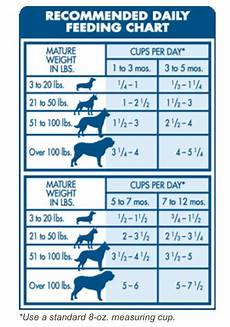 Puppy Feeding Chart By Weight Age Dog Feeding Guide By Age Weight A Day Of Increased