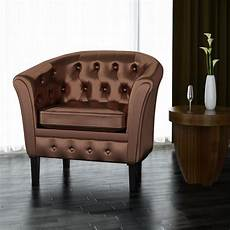 modern leather armchair accent brown tub chair living room