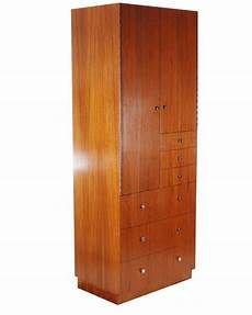 mid century modern cabinet in walnut with chrome