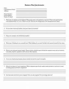 Questionnaire Template Microsoft Word Business Plan Questionnaire Free Questionnaire Templates