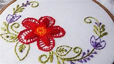embroidery twisted chain stitch flower design for