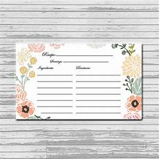 Recipe Card 3x5 Template by Pastel Flower Recipe Card 3x5 Instant Printable