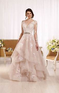 tulle wedding dress with illusion lace sleeves one day