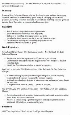 Collection Manager Resume Professional Debt Collection Manager Templates To Showcase