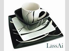 Contemporary Stoneware Black/White Dinner Set with