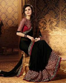 Black Georgette Designer Saree Buy Black Embroidered Faux Georgette Saree With Blouse Online