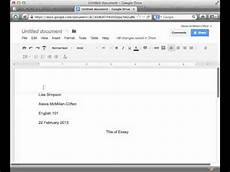 How To Mla Header Inserting Mla Header Amp Page Number In Google Docs Youtube