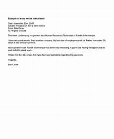 2 Week Notice Letter Template Two Weeks Notice Letters Download Pdf Doc Format