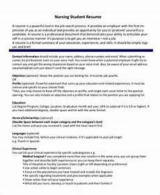 Nursing Resume Free 8 Sample Nursing Student Resume Templates In Ms Word