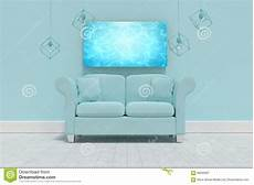 Sofa Cushions 3d Image by Composite Image Of 3d Illustration Of Empty Blue Sofa With