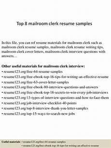Mailroom Clerk Resume Sample Top 8 Mailroom Clerk Resume Samples