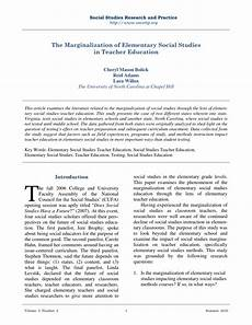 Social Studies In Elementary Education Pdf The Marginalization Of Elementary Social Studies In