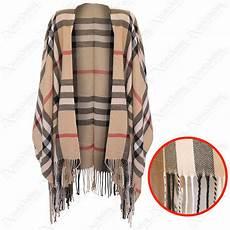 new womens beige tartan check cape wool blanket