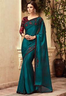 embroidered satin chiffon saree in teal blue sfva636