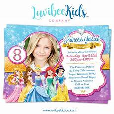 Princess Disney Invitations Disney Princesses Birthday Invitation With Photo Style