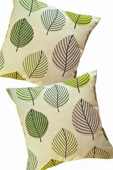 beige with green leaves pillow cover decorative throw