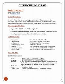 Curriculum Vitae Lay Out Professional Curriculum Vitae Format