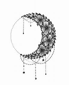Moon And Stars Design Floral Crescent Moon Design Star Tattoos Moon Star