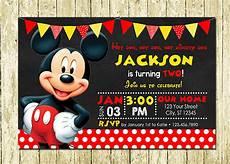 Mickey Mouse Birthday Invites Mickey Mouse Printed Chalkboard Birthday Invitations Ebay