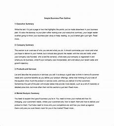Simple Business Plan Template Business Plan Outline Template 19 Free Word Excel Pdf