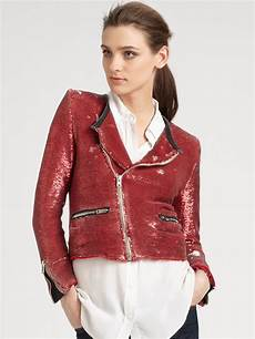 motorcycle clothes for sequin iro longina sequin motorcycle jacket in lyst