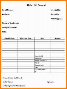 Hotel Bill Template 11 Hotel Bill Format In Word Applicationleter Com