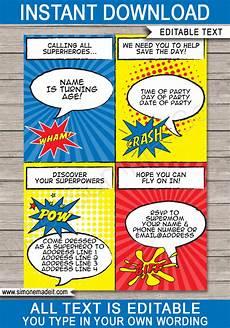 Superhero Invite Template Superhero Party Invitations Superhero Birthday Party