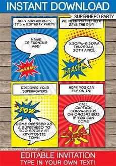Printable Superhero Invitations Superhero Party Invitations Superhero Birthday Party