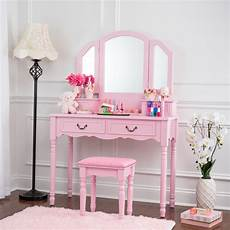 fineboard wooden vanity set dressing table with 3 mirrors