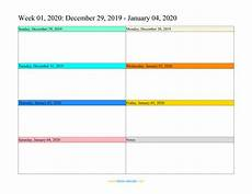 free weekly calendar template 2020 weekly calendar 2020 word excel pdf