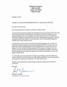Letter Of Recommendation It Technician Letter Of Recommendation Advanced Cooling Advanced