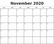 October 2020 Calendar Template November 2020 Monthly Calendar Template