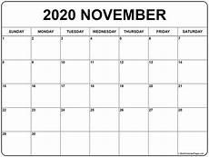 November 2020 Calendar Printable Free November 2020 Calendar Free Printable Monthly Calendars