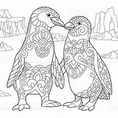 emperor penguins in freehand sketch for