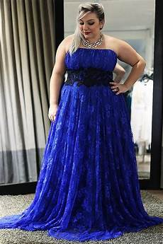 Light Blue Plus Size Formal Dress Strapless Royal Blue Plus Size Lace Long Prom Dress Cheap