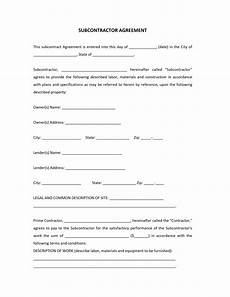 Free Subcontractor Agreement Subcontractor Agreement Template