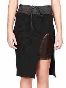 lyst sacai luck drawstring ribbed knit skirt in black