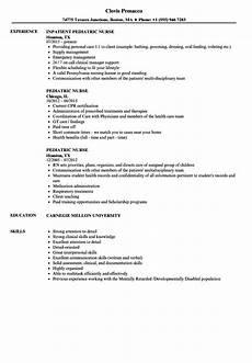 Pediatric Nursing Resume Pediatric Nurse Resume Samples Velvet Jobs