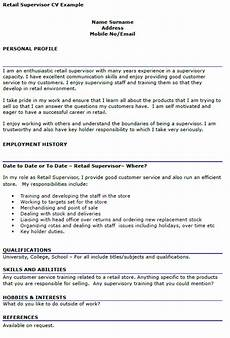 Sample Retail Cv Retail Supervisor Cv Example Icover Org Uk