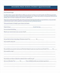 Student Survey Questions Free 22 Student Questionnaire Examples In Pdf Doc